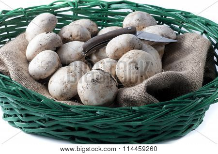 Mushrooms In The Wicker Basket With A Knife