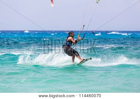 Kitesurfers On The Milos Beach In Lefkada, Greece