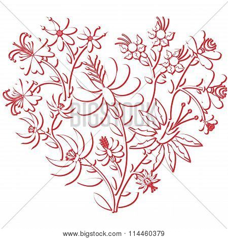 Celebration folk floral embroidery cutout  pattern in heart shape  3d version in white and red with