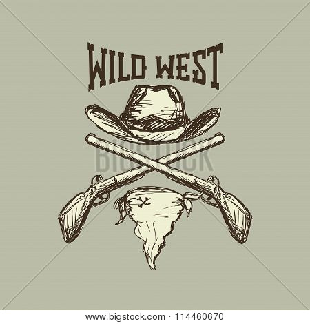 Cowboy hat and scarf,gun,