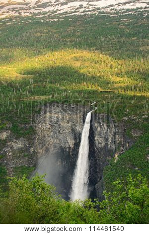 Norwegian waterfall Vettisfossen. beauty of Norway nature