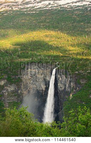 Norwegian waterfall Vettisfossen. beauty of Norway nature