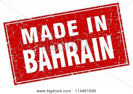 Bahrain Red Square Grunge Made In Stamp