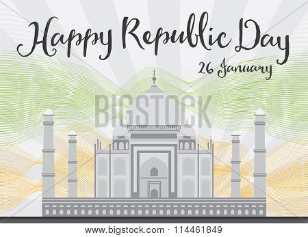 Happy Indian Republic Day celebration. Vector illustration. Concept with Taj Mahal and lines.