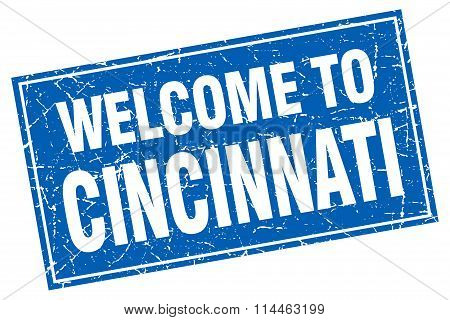Cincinnati Blue Square Grunge Welcome To Stamp