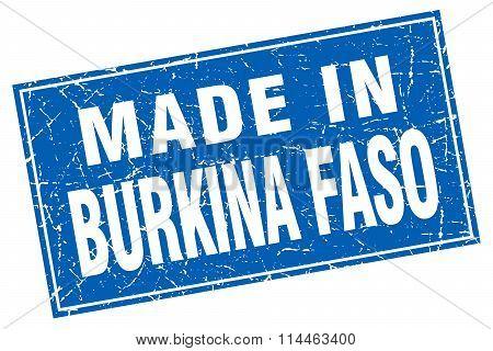 Burkina Faso Blue Square Grunge Made In Stamp