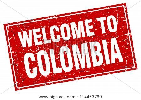 Colombia Red Square Grunge Welcome To Stamp