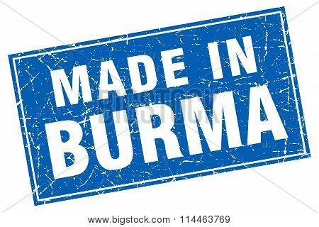 Burma Blue Square Grunge Made In Stamp
