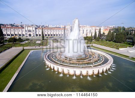 Fountain on Empire Square and Jeronimos Monastery, Lisbon, Portugal