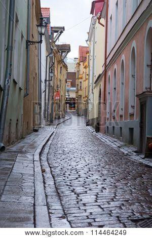 TALLINN, ESTONIA - DECEMBER 25: Cobbled street in old city at daytime on December 25, 2015 in Tallinn, Estonia