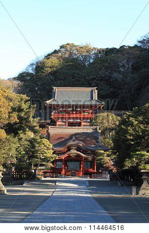 Main shrine and dance hall of Tsurugaoka Hachimangu shrine in Kamakura