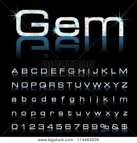 vector gemstone alphabet with reflection