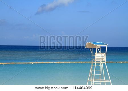 lifeguard tower in Tropical beach Okinawa Japan