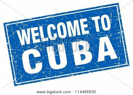 Cuba Blue Square Grunge Welcome To Stamp