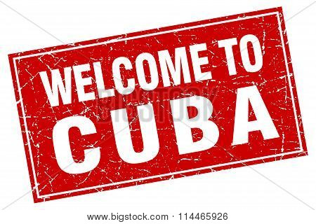 Cuba Red Square Grunge Welcome To Stamp