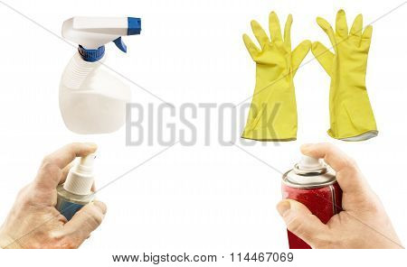 Different Aerosols In Hand And Yellow Gloves