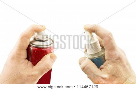 Two Different Aerosols In Hand