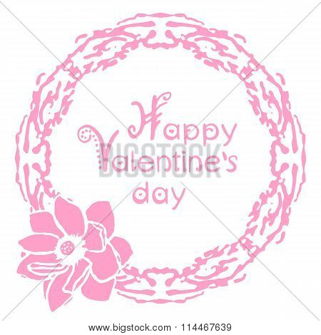 Happy valentines day card with floral round frame and hand lettering