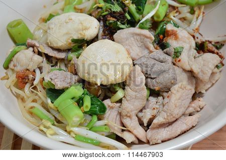 noodle with pork ball and boiled pork in bowl