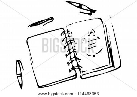 Vector Sketch Of An Open Notebook And Ballpoint Pens