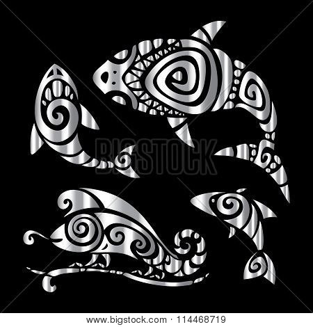 Lizards. Polynesian tattoo style.