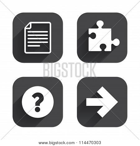Question mark and puzzle signs. File, arrow.