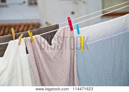Wash clothes on a rope with clothespins