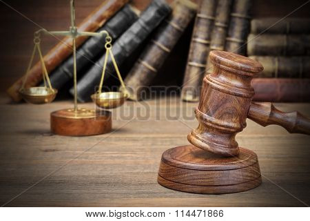 Jydjes Gavel, Legal Code And Scales Of Justice Closeup