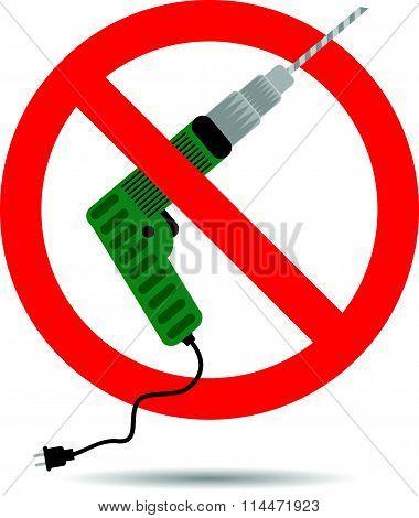 Ban drill icon flat