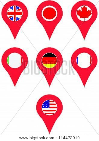 Pin location country G7