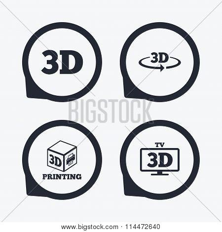3d technology icons. Printer, rotation arrow.