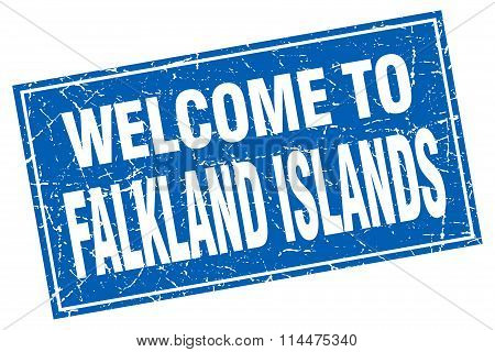 Falkland Islands Blue Square Grunge Welcome To Stamp