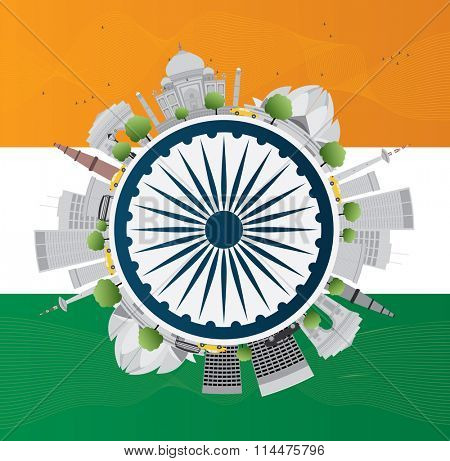 Happy Indian Republic Day celebration. Vector illustration. Concept with indian Landmarks and copy space. Buildings on indian flag.