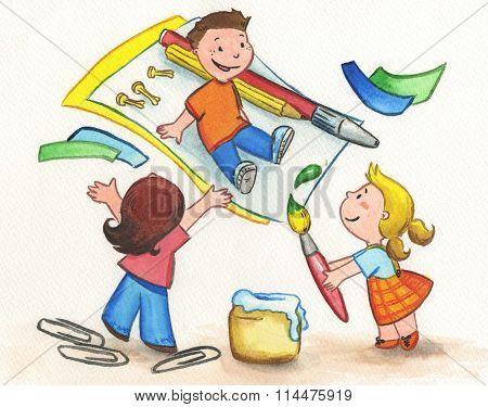 Happy kids painting
