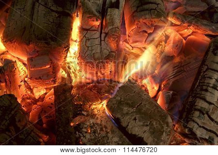 Charcoal Briquettes Glow In Bbq Grill Pit Background Texture