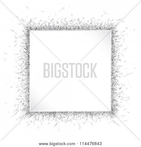 A square white paper frame over dynamic speckled background. Black and white with space for your text. EPS10 vector format