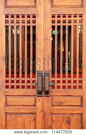 Brown Color Door Made From Wood In Chinese Style