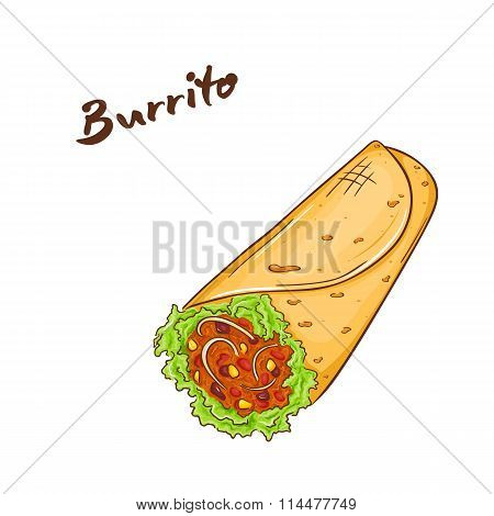 Vector Illustration Of Isolated Cartoon Hand Drawn Fast Food. Burrito