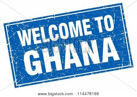 Ghana Blue Square Grunge Welcome To Stamp