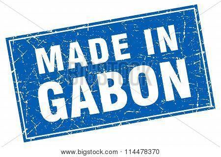 Gabon Blue Square Grunge Made In Stamp