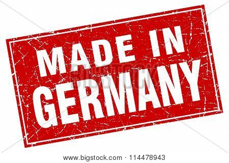Germany Red Square Grunge Made In Stamp