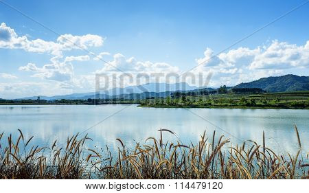 Lake Water View With Blue Sky And Clouds