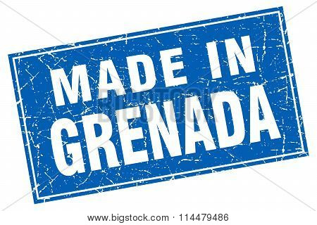 Grenada Blue Square Grunge Made In Stamp