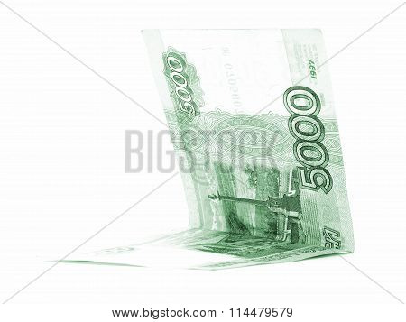 Green Russian Ruble Salary Folded Isolated On White Background