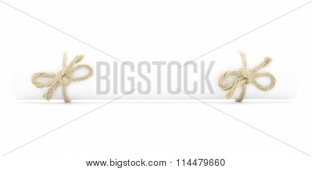 White Letter Scroll Tied With Cord, Natural Bows Couple Isolated