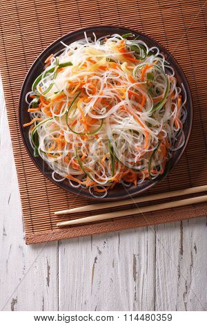 Crystal Noodles With Cucumber And Carrot On A Plate Vertical Top View