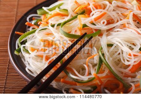 Glass Noodle Salad With Cucumber And Carrot Close-up. Horizontal