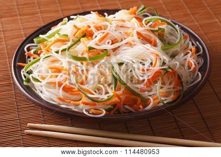 Chinese Noodles With Cucumber And Carrot Close-up. Horizontal