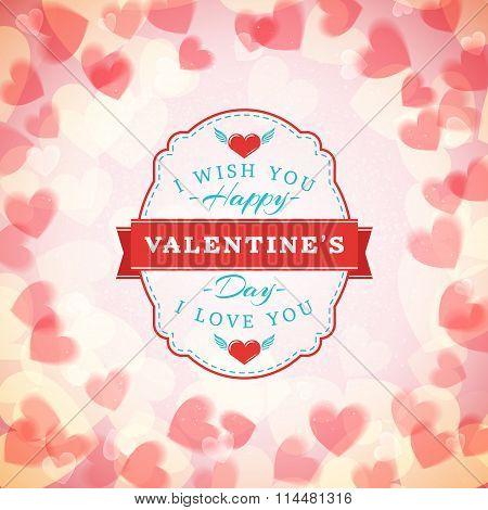 Happy Valentines Day Vintage Badge. Valentines Day Greeting Card Or Poster. Vector Illustration. Des