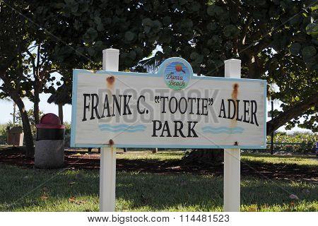 Dania Beach Frank C Tootie Adler Park Sign
